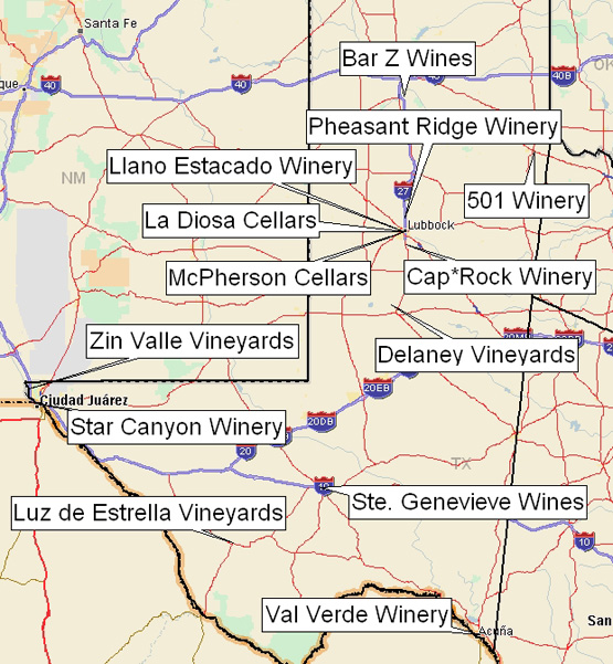 Map Of Texas Wineries.Texas Wineries West Region