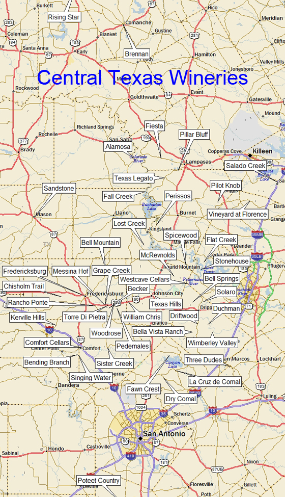 Map Of Texas Wineries.Texas Wineries Central Region